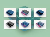 Smartphone multiscreen perspective PSD Mockup
