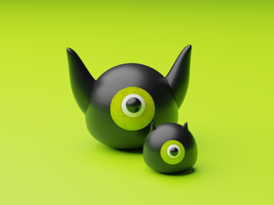 Ecto - The One Eyed Monster weeklywarmup dribbbleweeklywarmup halloween monster character art 3dart design illustration illustrator blender3dart blender 3d blender 3d