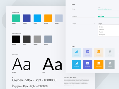 Design Style Guide material guide forms visual icons pms elements guide ui style palette colors style guide