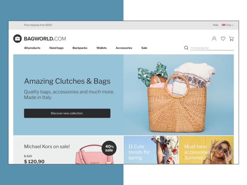 E-commerce Web Design for Bags Shop