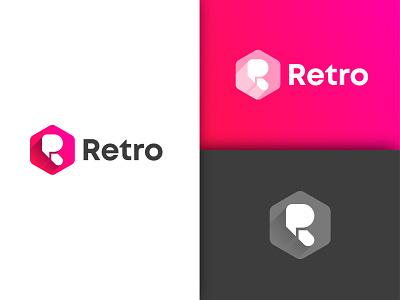 Retro logodesign branding minimal icon pink gradient colorful letter r tech logo r logo retro logo