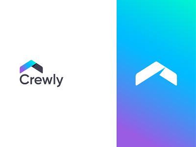 Crewly logo design branding logodesign branding company logo icon gradient upward arrow house logo modern logo minimal housing logo crew logo crewly