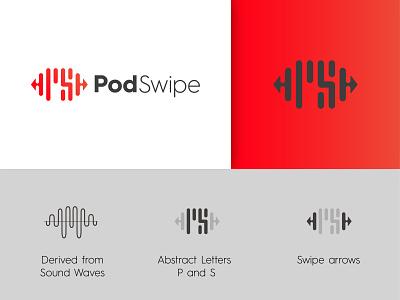 PodSwipe Logo company logo red icon brand minimal music logo sound ps logo letter s letter p podcast logo pod logo podswipe