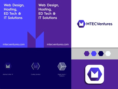 MTecVentures Logo purple logo gradient company logo minimal icon app icon brand creative logo tech logo ventures m tech logo