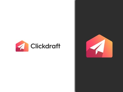 Clickdraft Concept 1 clickable gradient branding company logo icon minimal 3d colorful fly speed quick logo mail logo paperplane logo click logo pointer logo logo click clickdraft
