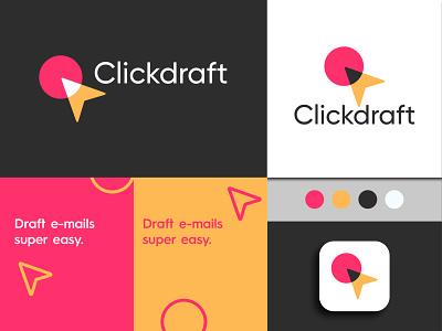 Clickdraft concept 2 company logo branding click circle minimal colorful cool overlap logo icon logo design click logo draft logo