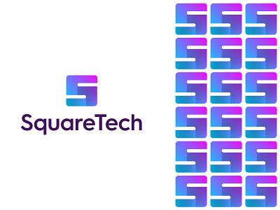 SquareTech Logo and Branding letter s data flow brand identity branding mobile app graphic designer logo designer tech logo gradient square logo app icon graphic design logo design