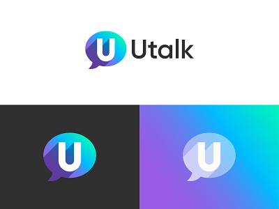 Utalk logo design logotype mobile app app icon logo design branding minimal logo 3d logo gradient speechbubble talk logo utalk logo logo design concept logo designer logo design