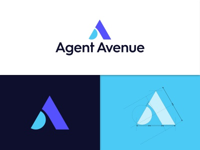 Agent Avenue logo and branding logo design branding branding design brand identity blue company logo icon minimal logo designer logotype logo mark agency branding letter a logo