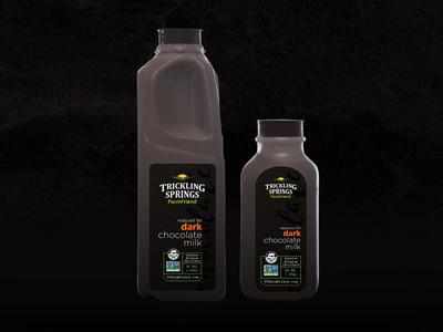 Dark Chocolate Milk pasture cows grass fed organic dairy milk mockup design label packaging