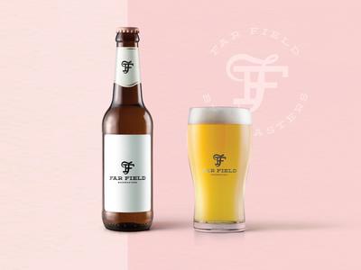 Far Field Logo Option sunset la bottle mockup design brewery beer brand icon identity logo