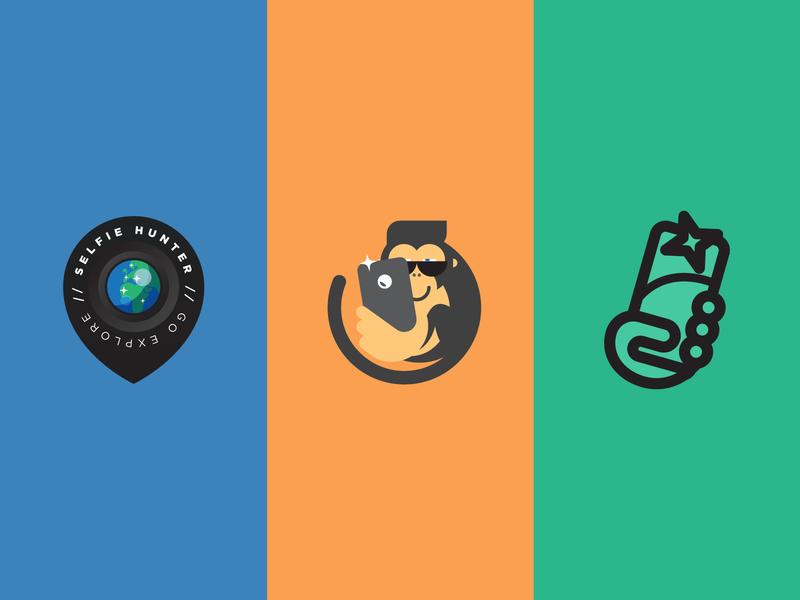 Selfie Hunter Logo Options location photo hunter selfie gps mykonos greece vector icon design minimal illustration brand identity logo