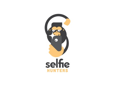 Selfie Hunters Logo travel visit explore mykonos photography selfie guide tourist greece branding logodesign logotype identity logo