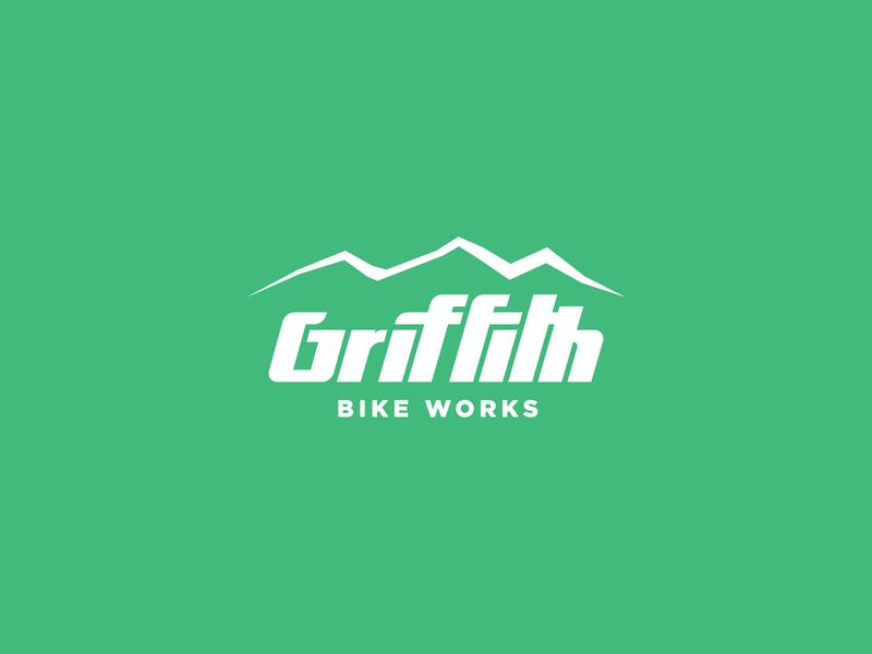 Griffith Bike Works flat identity minimal branding type custom typography illustration logo bike works littleton denver mtb mountain colorado biking