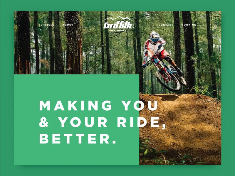 Griffith Bike Works Landing Page ux ui brand identity website service works mtb biking mountain logo branding design homepage web page landing