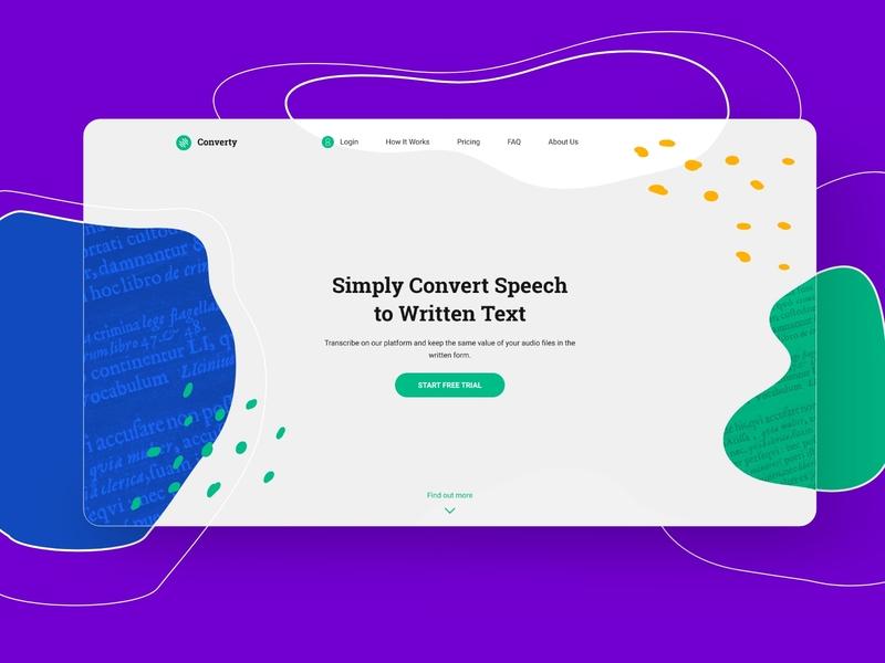 Converty UI/UX Design webdesign speechtotext website ux ui design