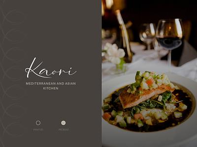 Kaori Restaurant Logo Design wordmark stationery business card brand identity visual design restaurant restaurant logo branding typography logo design logo