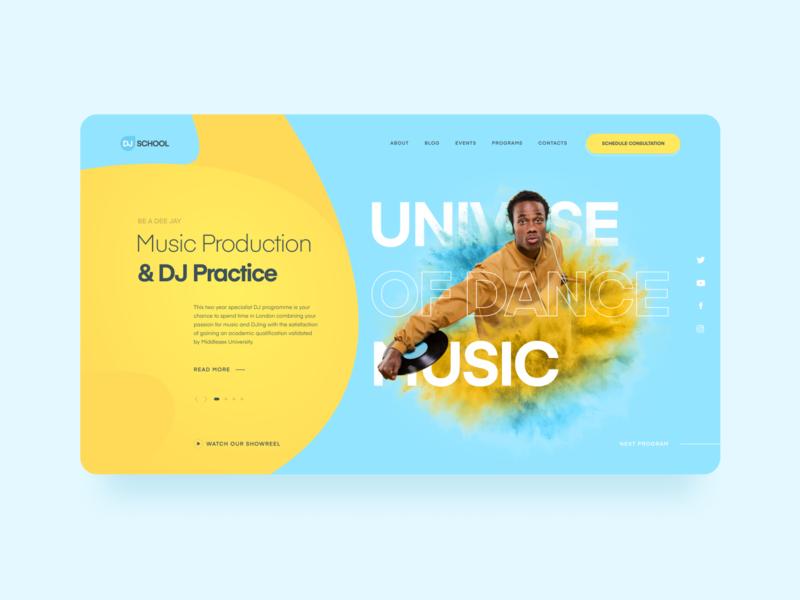 Become a DJ web dance vinyl yellow blue dj deejay website ux ui concept landing musician music