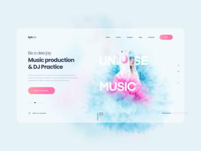 Become a DJ Fem Edition 2020 landing design music art musician dj dee jay music landing page blue landing website abstract design ux ui