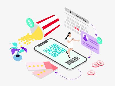Mobile App Booking Cinema Ticket Isometric webdevelopment webdeveloping webdevelopers webdevelop ux ui redesign developer customillustrations appdesigner