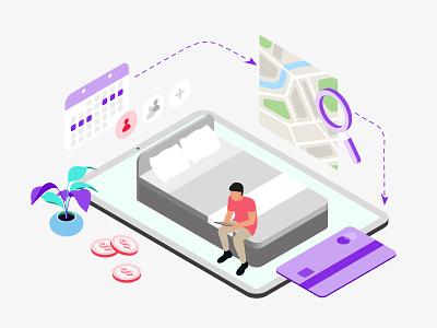 Mobile App Booking Hotel Features Isometric webdevelopment webdeveloping webdevelopers webdevelop ux ui redesign developer customillustrations appdesigner