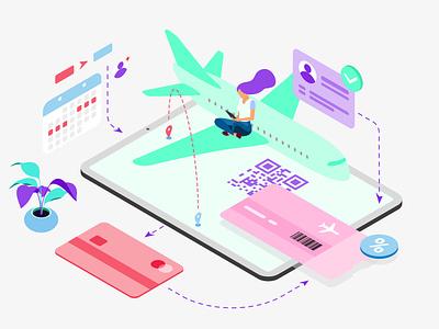 Mobile App Booking Plane Ticket Features Isometric webdevelopment webdeveloping webdevelopers webdevelop ux ui redesign developer customillustrations appdesigner