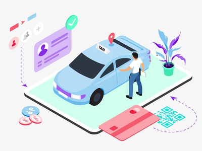 Mobile App Booking Taxi Features Isometric webdevelopment webdeveloping webdevelopers webdevelop ux ui redesign developer customillustrations appdesigner