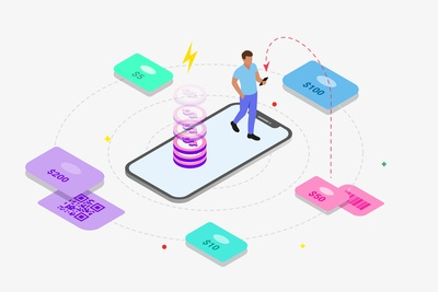 Mobile App Phone Top-Up Feature Isometric