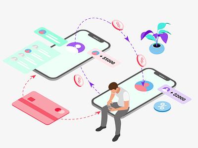 Mobile App Transfer Features Isometric illustration isometric mobile app ux ui developer redesign webdevelopment webdevelop webdeveloping webdevelopers customillustrations appdesigner
