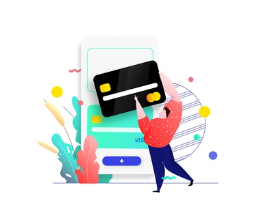 Mobile App Add Credit Card Feature Illustration credit card illustration isometric mobile app ux ui developer redesign webdevelopment webdevelop webdeveloping webdevelopers customillustrations appdesigner