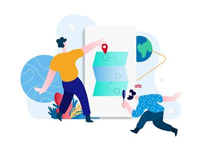 Positioning And Sharing Location Feature E-Wallet Illustration illustration isometric mobile app ux ui developer redesign webdevelopment webdevelop webdeveloping webdevelopers customillustrations appdesigner