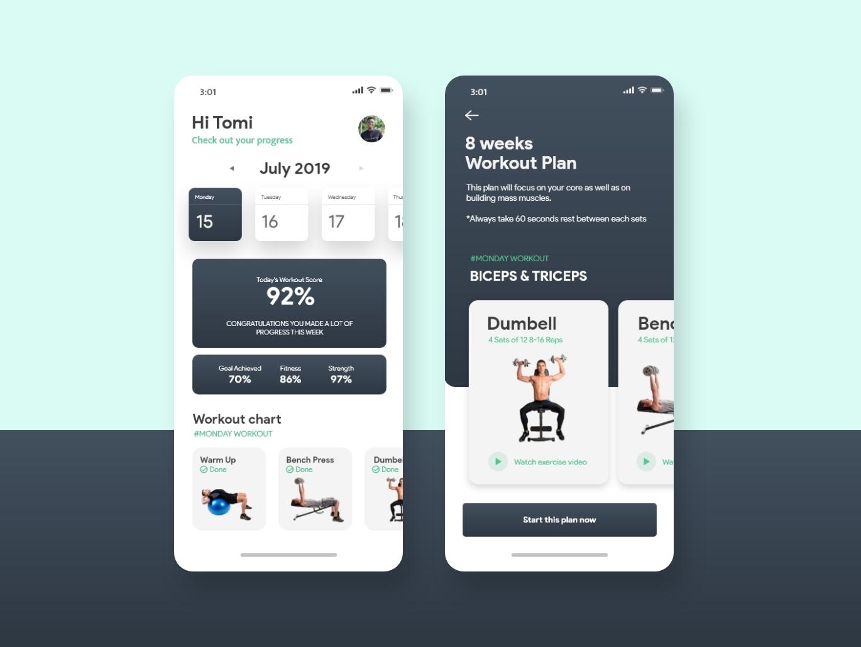 Fitness Tracker App ui kit ui interface mobile app design fitness tracker ui inspiration ui design uiux fitness app gym app workout tracker workout app