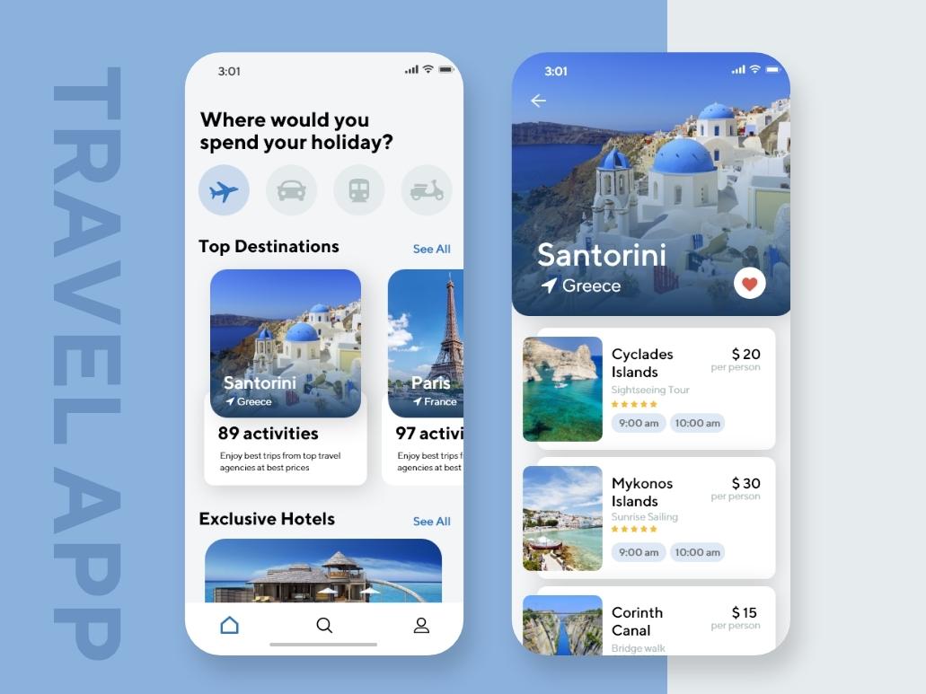 Travel App ui ux ux design ui kit mobile ui paris santorini travel agency travel app daily ui ui inspiration uidesign mobile app design