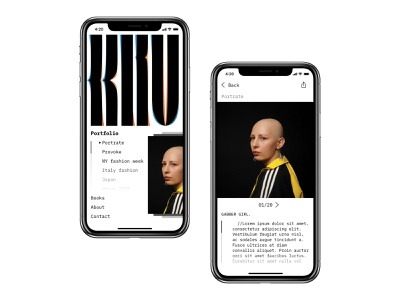 Mobile version web portfolio typography minimal ui photography photo mobile blackandwhite design creative concept app portfolio