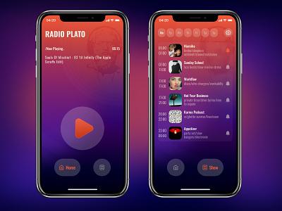 Mobile app Radio Plato radio music app transparent transparency ux ios gradient mobile minimal app ui design creative