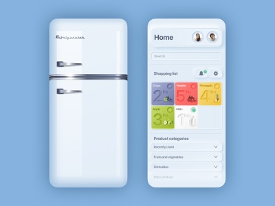 Neumorphic Shopping List App ios app shopping cold refrigerator neumorphism neumorphic ux minimal ui app design
