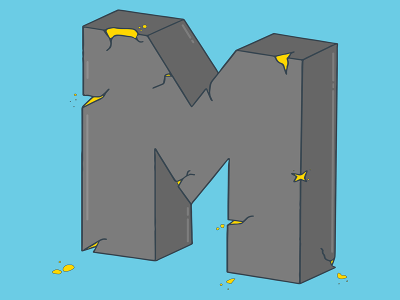 Cracked M illustration hand lettering procreate adobe illustrator