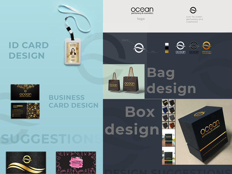 Brand Promotion Material Designing for Ocean Perfumery printing design material promotion photoshop illustration color branding socialmedia