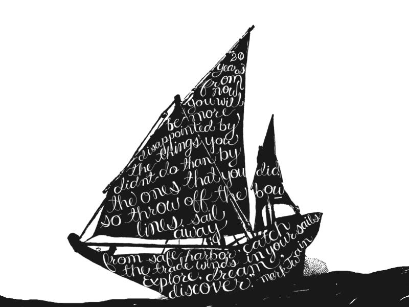 Mark Twain explore boat typography mark twain handwritten lettering drawing ink illustration