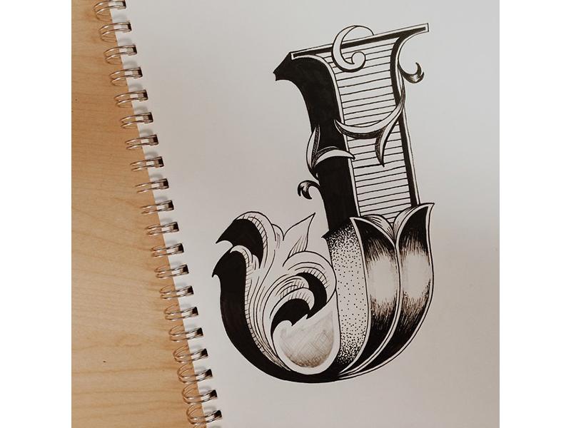Fancy J lettering hand lettering ink sketch design