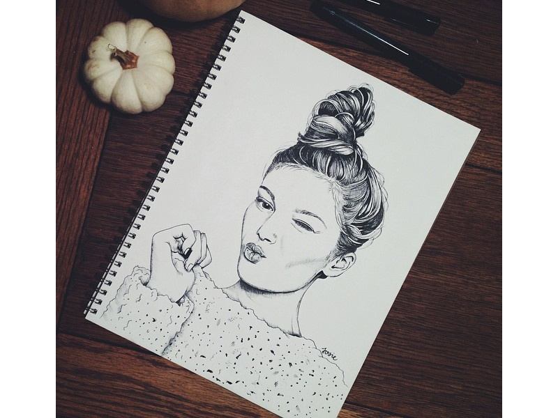 Kill em' with a kiss sketch drawing ink portrait inktober