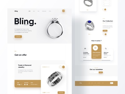3D Product Landing Page - Dimond ring header elegant diamond ring website design webdesign web uxdesign user interface user experience uidesign typography trending design products landingpage designer colorful design color button best design 3d