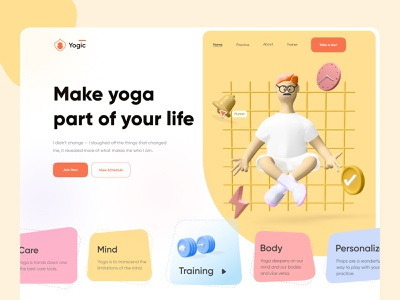 Website Design - Yogic yoga pose yoga app vector webdesign mobile app mobile landingpage fitness creative yoga uiux ux ui typogaphy minimal hero header clean 3d illustration 3d design 3d