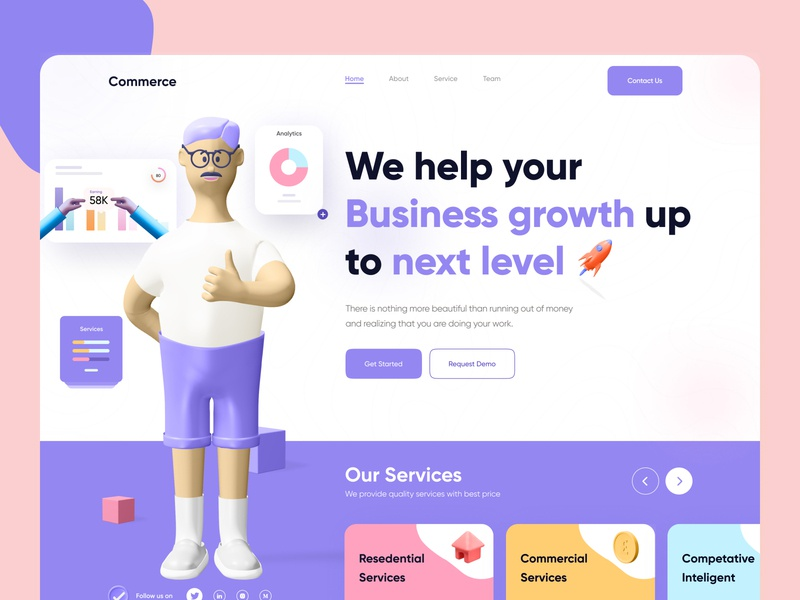 Website Design for Business Management company residential modern minimal corporate commercial creative design agency service business support business finance mobile app mobile ui mobile landingpage 3d illustration website 3d header design 3d design