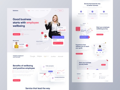 Business Consultation Landing Page Design productivity business owner employee adviser websites landing page design employee profile concept management system business solution hire employee review consulting mentorship service improvement revenue consultation firm business consultation webdesign