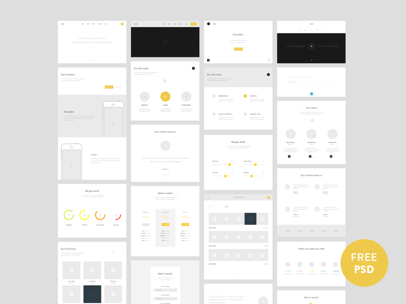 One page website wireframes  psd download free freebies web website portfolio landing page prototype wireframe