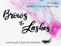 Brows & Lashes / Lettering & clipart set