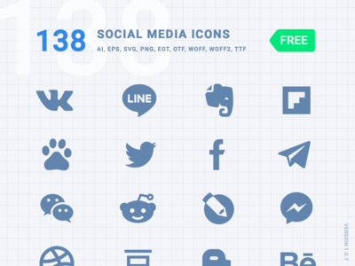 [FREE] 138 Social Media Icons - Font Kiko