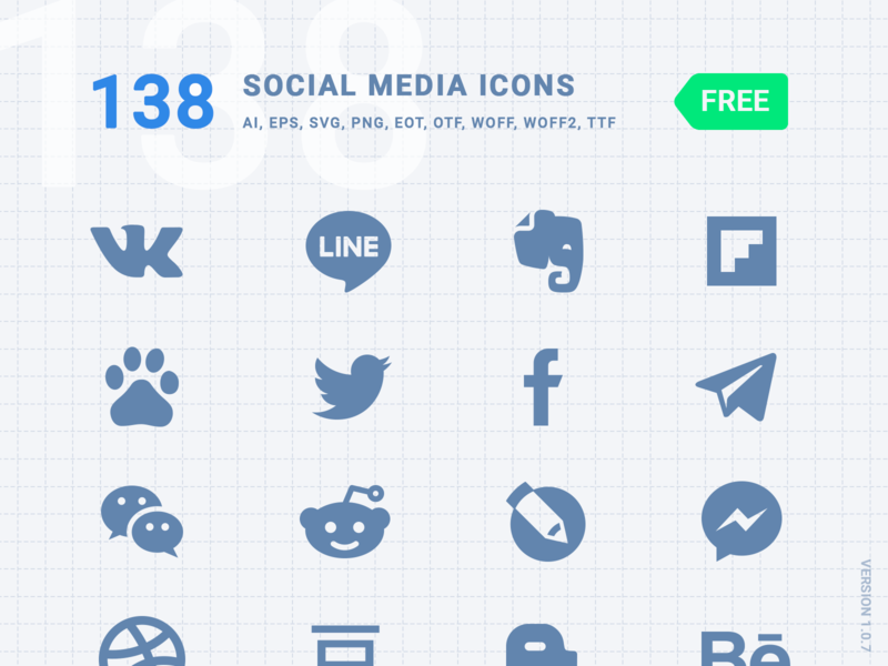 FREE] 138 Social Media Icons - Font Kiko by Font Kiko on