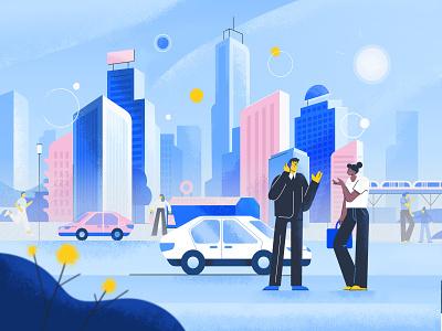 City lights car tech skyline urban city illustration character design character cartoon art